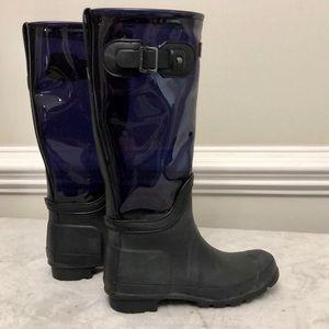 Hunter blue clear leg rain boots